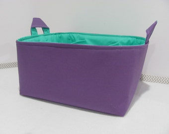 Fabric Diaper Caddy - Storage Container Basket - Organizer Bin - Tote Bag - Bucket - Baby Gift - Nursery - Purple and Teal / Turqouise