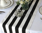 Black and White Stripe Table Runner Wedding Table Runner with white stripes on the borders - READY TO SHIP!