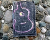 Lavender Purple Guitar on Charcoal Grey Felted Wool Recycled Sweater Phone Sleeve , Wristlet or Case