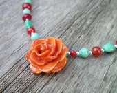Free Shipping REAL Orange Tea Rose and Turquoise, Carnelian, Coral, Sterling Silver Necklace