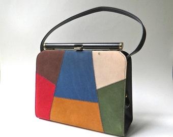 60s vintage Naturalizer Colorful Patchwork Faux Suede and Black Vinyl Handbag / Color Block Handbag