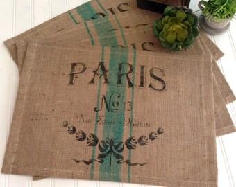 Burlap  French  Paris Theme  Grainsack Placemats    Farmhouse / Beach / Coastal / Lake House / Rustic / Cottage Chic