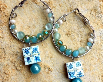 Portugal Lisbon Antique Azulejo Tile Replica HOOP Earrings- 1837  Pasteis de Belem Delft Style - Teal - Coastal Tones