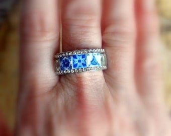Portugal Antique Azulejo Tile Replica Rhinestone Ring 1837 Delft Blue from Pasteis de Belem and also from Porto US size 9, UK size S, 19mm