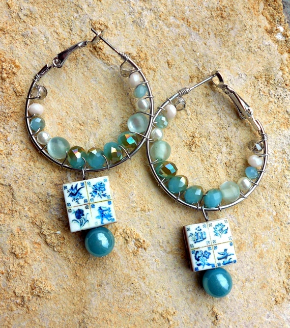 Portugal Lisbon Antique Azulejo Tile Replica HOOP Earrings- 1837  Pasteis de Belem Delft Style - Teal - Coastal Tones