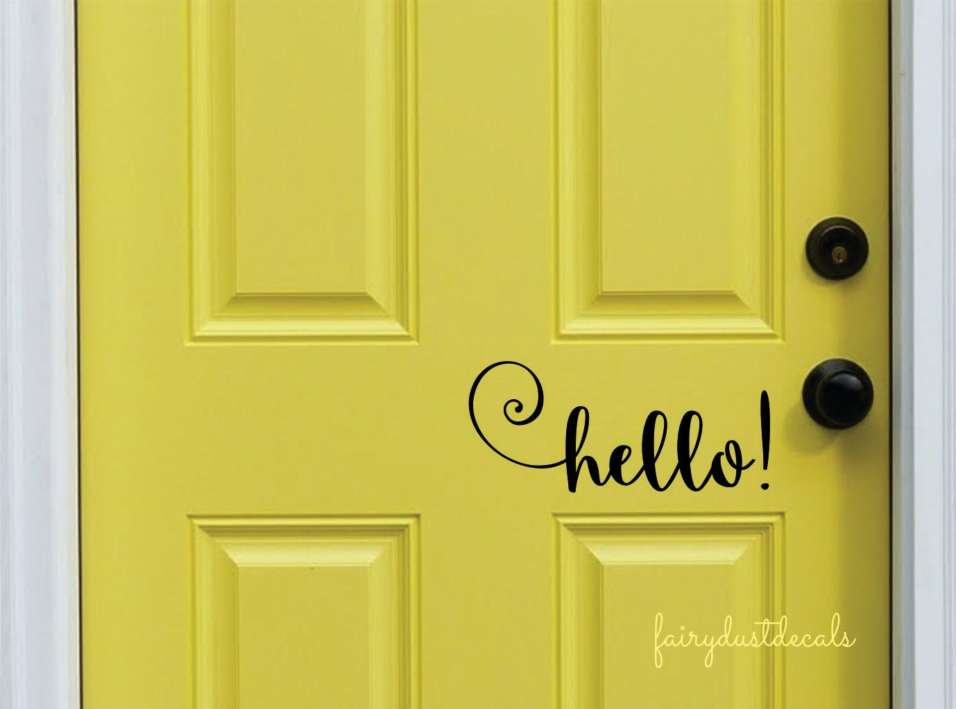 Hello decal front door greeting wall decal vinyl lettering for Door mural stickers