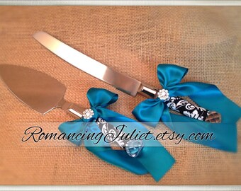 Waverly Black/Ivory Damask Cake Server Set with Rhinestone Accent ..You Choose The Bow Colors..shown in teal green