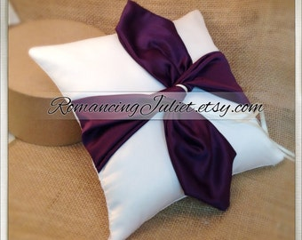 Knottie Ring Bearer Pillow...You Choose the Colors....Buy One Get One HALF OFF..shown in ivory/eggplant purple