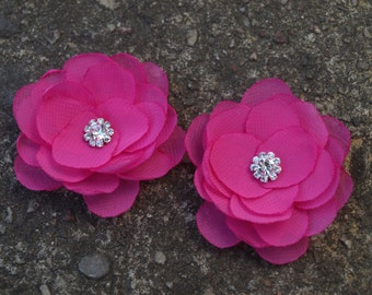 Pink Flower Hair Pins - Brooches - Shoe Clips Set of 2