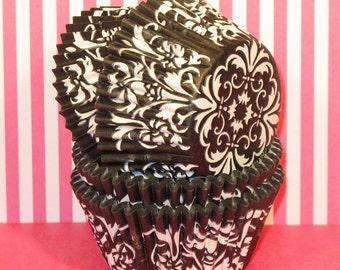 Black Damask Designer Heavy Duty Cupcake Liners   (40)