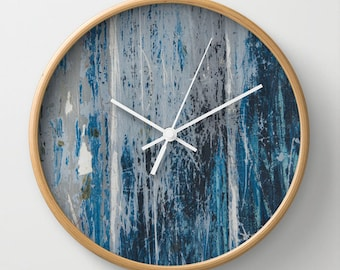 Weathered wood print clock, distressed wall clock, navy beach theme, boat hull clock, blue home decor grunge wall clock blue weathered paint