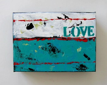 Turquoise Word Painting, Original Art on Canvas, Home and Living, Love, Nursery Decor, Stencil art, Custom painting