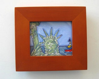 Statue of Liberty Painting on Canvas, Framed mini painting, Fourth of July, gift idea