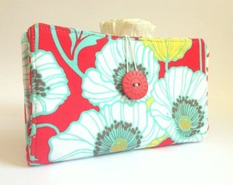 Tampon and Pad Holder Poppy Red Aqua White Yellow (Privacy) Wallet - Poppies