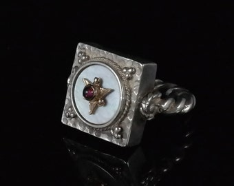 Ring Size 7.75 Vintage Handcrafted Sterling Silver MOP & Amethyst Ring