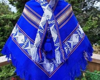 Fringe Poncho cape shawl Guatemala Blue Serape size S