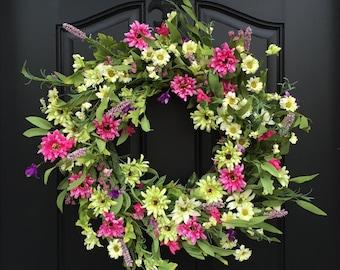 Wreaths, Wreath, Summer Daisy Wreath, Front Door Wreaths, Door Wreath, Summer Wreath, White Daisy Wreath,  Door Wreaths, Decorative Wreaths