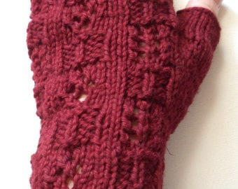 Cotton Linen Blend Gloves for Women, Teen Girls. Handknit Gloves, Texting Gloves, summer gloves, cranberry color, patchwork lace design
