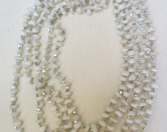 Vintage Necklace....Five Graduated Strands White Milky Glass Beads