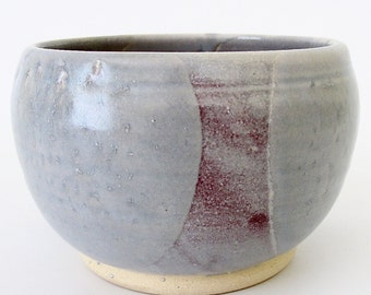 Stoneware Pottery. Small Bowl. Rice or Noodle Bowl. Individual Serving Size. Rose. Mauve. Light Blue Gray. Alice Blue. Artisanal Bowl [1]