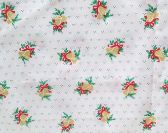 Christmas Fabric 3 yd Vintage Metallic Gold Bells Craft Supply Yardage Small Print Novelty Red Green