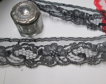 Black Lace Yardage 7-35 yd Flat Chantilly Scalloped Edge for Altered Couture Burlap Trim Sexy Wedding Party Sewing BTY Goth Halloween Wreath