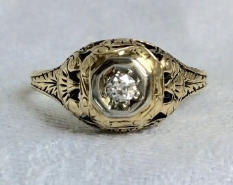 Antique Victorian Diamond Ring with Detailed Engraving and Filligree
