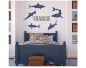 SHARK Decals with Custom Name  - Hammerhead - Great White - Saw Shark - vinyl decal
