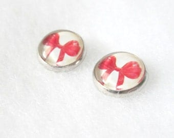 Red Bows 12mm Stud Earrings