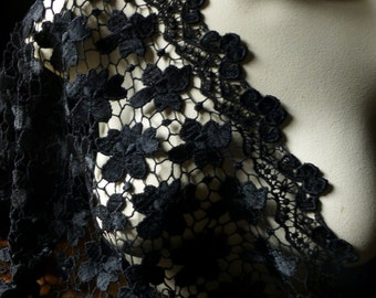 Wide Black Venise Lace for Bridal, Shawls, Skirts, Costumes