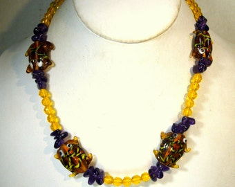SALE,  FROG Necklace, Yellows n Browns HandMade Vintage Hippie Toads, Amethyst Stone Chips,  OOAK Design by Rachelle Starr