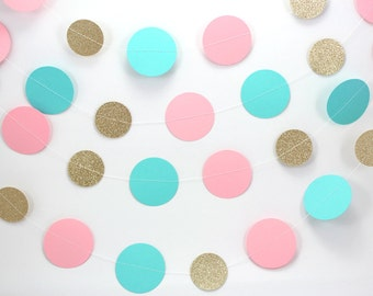 Gold Glitter, Aqua and Pink Dots Paper Garland - Baby girl, nursery decorations, baby shower gender reveal party