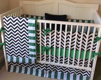 To navy kelly green and gray chevron and stripes crib bedding on etsy