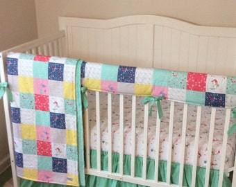 Mermaid Crib Bedding with Ruffles Made to Order