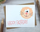Cat Birthday Card In Pink - Single
