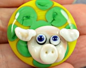 Pink Pig - glass pig cabouchon - lampwork cabouchon -  from Izzybeads SRA UK