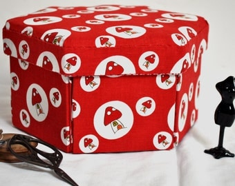 Hexagonal Sewing Box - Hand Made Fabric Covered Cartonnage - Toadstools