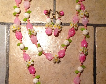 Pink and White Flower Garden Necklace and Earrings