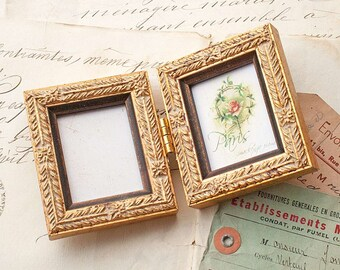 mini gold hinged double frame ideal weddingbride groombridesmaids giftgolden wedding - Mini Gold Frames