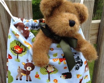 Quilted Backpack for Toddler Drawstring Closure, Sweet Forest Friends