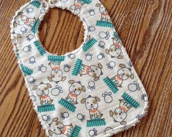 Flannel & Chenille Baby Bib, Snap Closure, Sweet Puppies, ready to ship