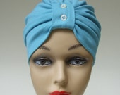 Organic Cotton Knit Classic Turban, Summery Blue with Pearl Button Detail