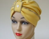 Sunny Yellow Organic Cotton Classic Turban, Inside-Out Grey Stitching with Pearl Button, M
