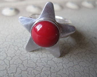 Red Coral Sterling silver star ring size 6