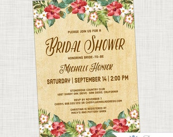 Tropical Bridal Shower Invitation, Vintage, Rustic, Hibiscus, Palm Leaves, Tropical, Hawaiian, Destination