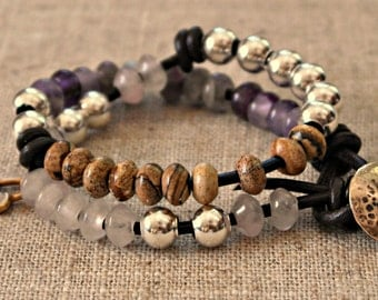 Bohemian double leather wrap bracelet purple amethyst rose quartz sand stone sterling silver