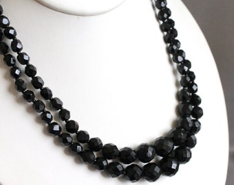 Vintage double strand faceted black glass beaded necklace