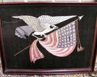 Silk Embroidered Panel United States Eagle Flag Meiji-era Japanese silk needlework panel for American Export, c. 1850 - 1870s.