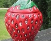 Vintage Strawberry Cookie Jar--Strawberry Canister--Strawberry Kitchen Jar--Retro Kitchen Decor