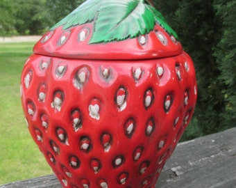 Vintage Strawberry Cookie Jar--Strawberry Canister--Strawberry Kitchen Jar--Retro Kitchen Decor